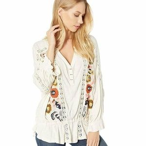 Free People Serafina Embroidered Crochet Top M